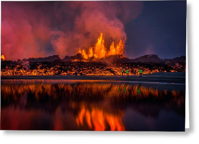 Glowing Lava From The Eruption Greeting Card