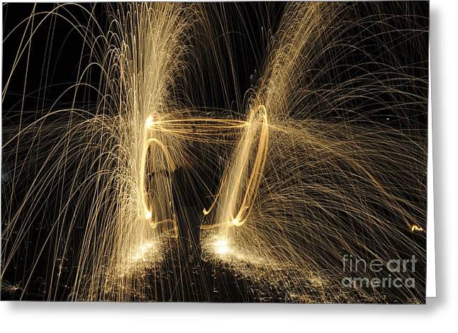 Glowing Spark Spiral Greeting Card by PhotoStock-Israel