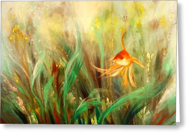 Gorna Greeting Cards - Gold Fish Greeting Card by Gina De Gorna