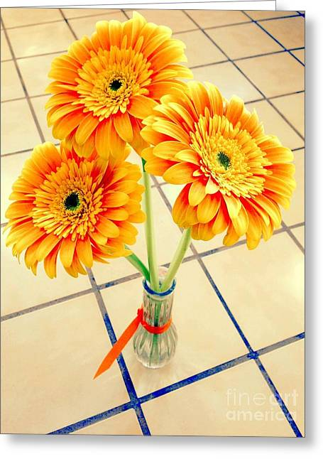 Greeting Card featuring the photograph 3 Golden Yellow Daisies Gift To My Beautiful Wife Suffering With No Hair Suffering Frombreast Cancer by Richard W Linford