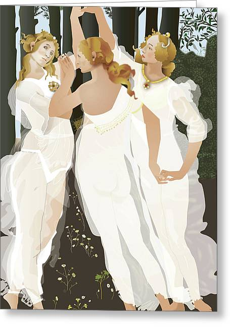 3 Graces Greeting Card by Terry Cork