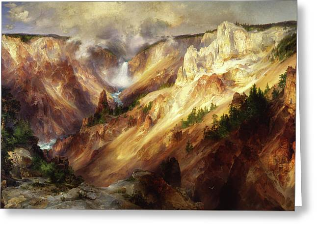 Greeting Card featuring the painting Grand Canyon Of The Yellowstone by Thomas Moran