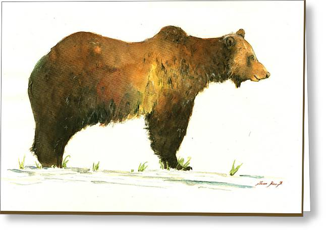 Grizzly Brown Bear Greeting Card by Juan  Bosco