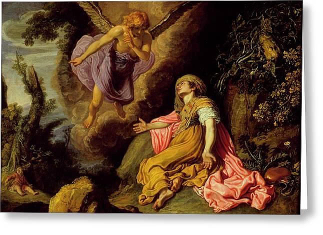 Hagar And The Angel Greeting Card
