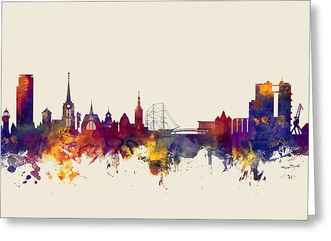 Halmstad Sweden Skyline Greeting Card by Michael Tompsett