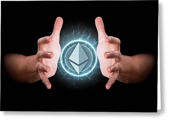 Hands Grasping Cryptocurrency Greeting Card