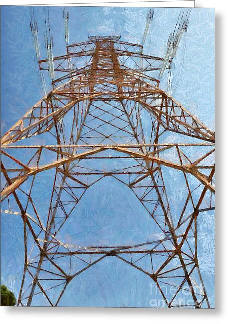 High Voltage Pylon Greeting Card
