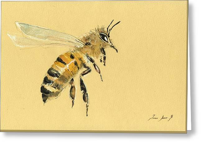 Honey Bee Watercolor Painting Greeting Card by Juan  Bosco