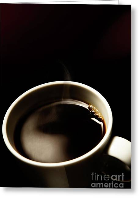 Hot Cup Of Coffee Greeting Card by Wolfgang Steiner