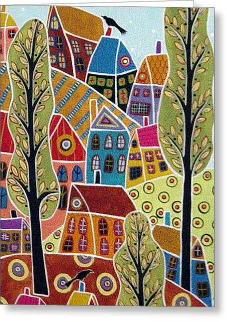 Houses Trees And Birds Greeting Card by Karla Gerard
