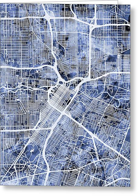 Houston Texas City Street Map Greeting Card