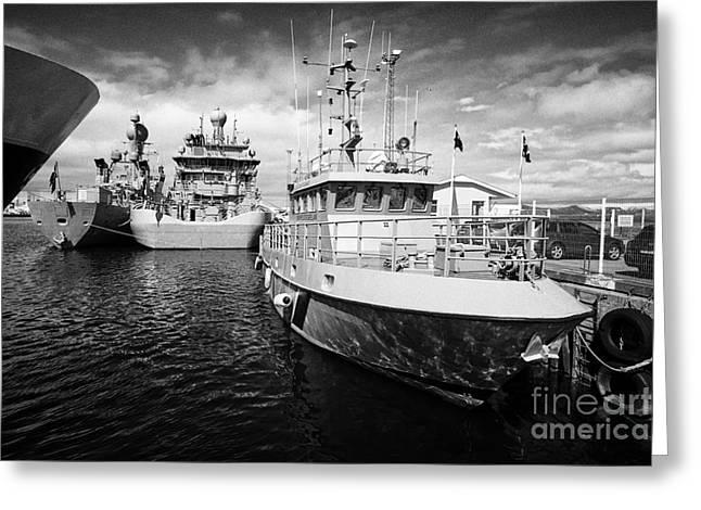 icelandic coast guard vessels thor and tyr docked in Reykjavik iceland Greeting Card by Joe Fox