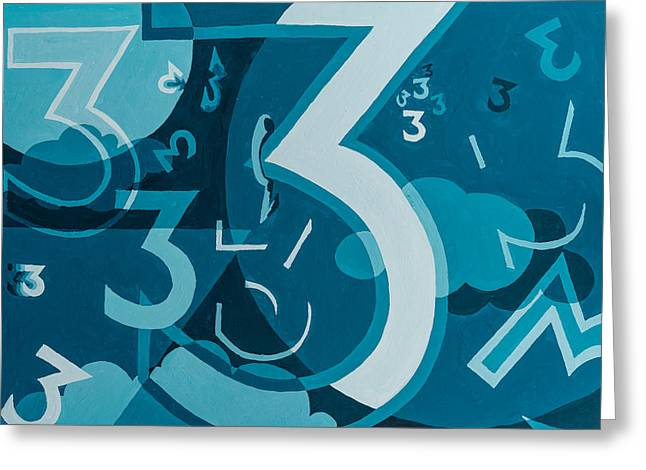 3 In Blue Greeting Card