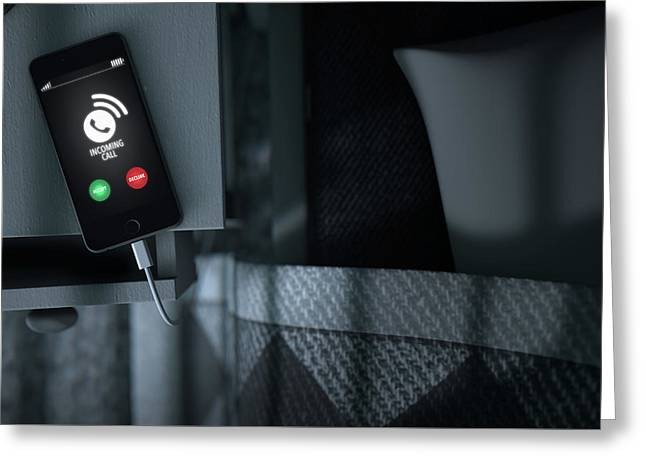 Incoming Call Cellphone Next To Bed Greeting Card by Allan Swart