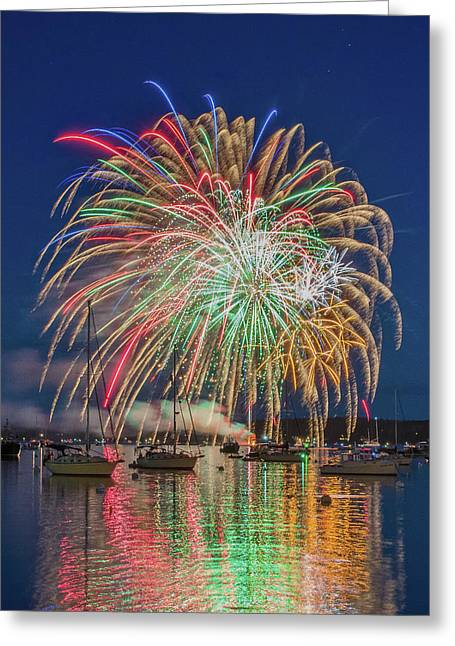 Independence Day Fireworks In Boothbay Harbor Greeting Card