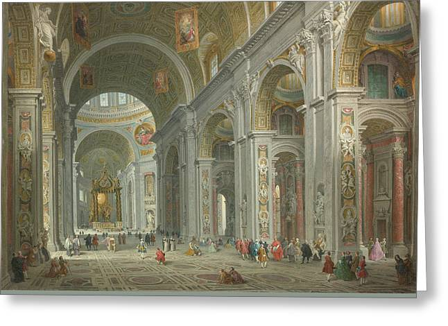 Interior Of Saint Peter's, Rome Greeting Card by Giovanni Paolo Panini