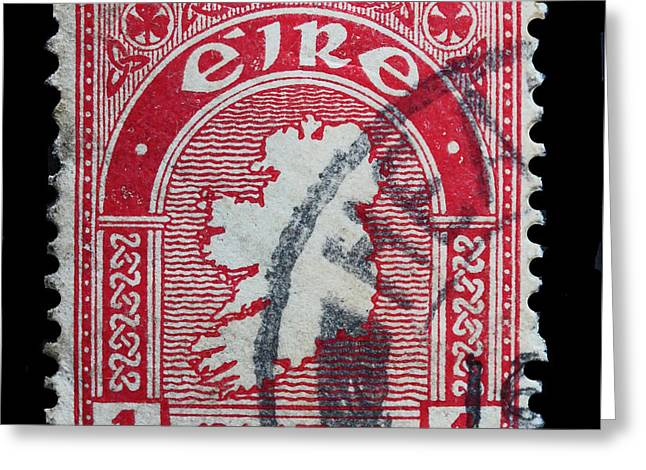 Irish Postage Stamp Greeting Card by James Hill