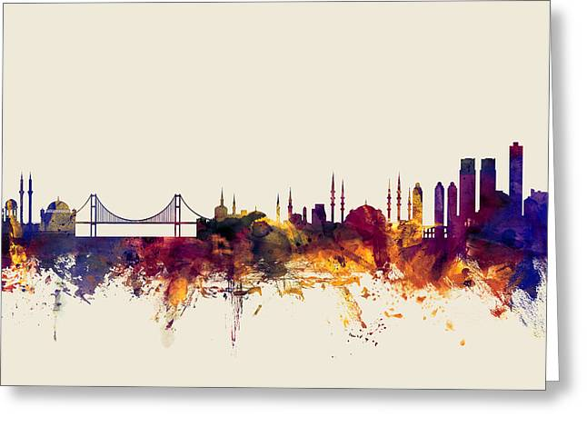 Istanbul Turkey Skyline Greeting Card