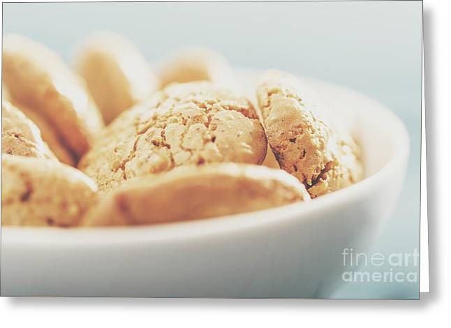 Italian Amaretti Biscuits In White Bowl Greeting Card