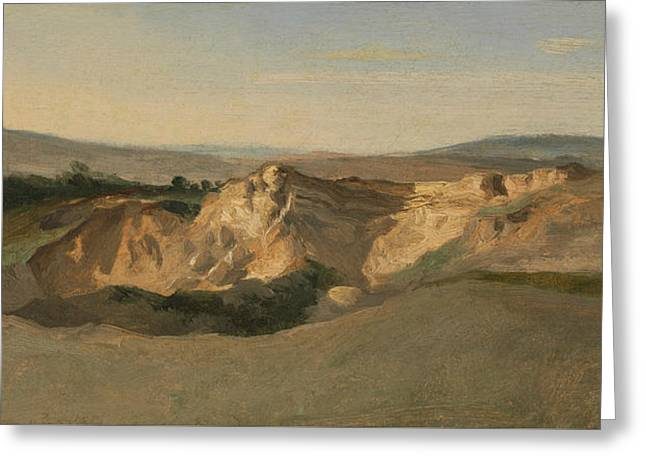Italian Landscape Greeting Card by Jean-Baptiste-Camille Corot