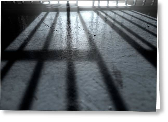 Jail Cell Shadows Greeting Card by Allan Swart