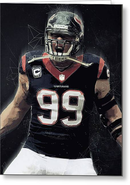 Jj Watt Greeting Card by Semih Yurdabak