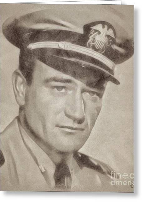 John Wayne Hollywood Actor Greeting Card by John Springfield