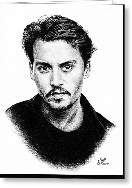 Johnny Depp Bw Version Greeting Card