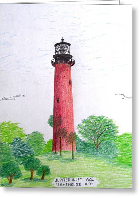 Historic Buildings Greeting Cards - Jupiter Inlet Lighthouse  Greeting Card by Frederic Kohli