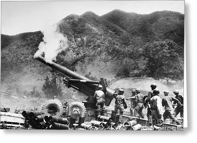 Korean War: Artillery Greeting Card by Granger