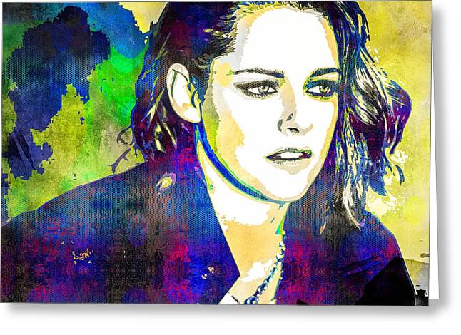 Kristen Stewart Greeting Card by Svelby Art