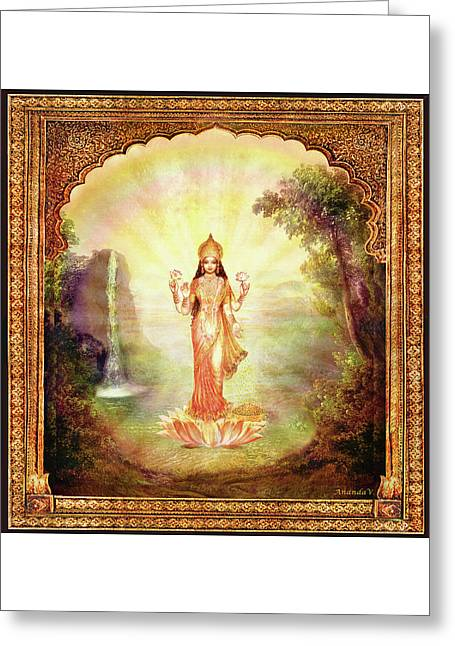 Lakshmi With The Waterfall Greeting Card by Ananda Vdovic