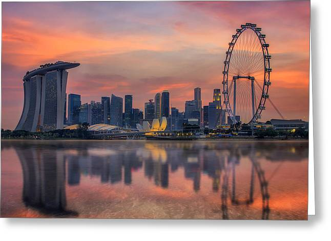 Bund Greeting Cards - Landscape of the Singapore city Greeting Card by Anek Suwannaphoom