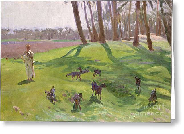 Landscape With Goatherd Greeting Card by John Singer Sargent