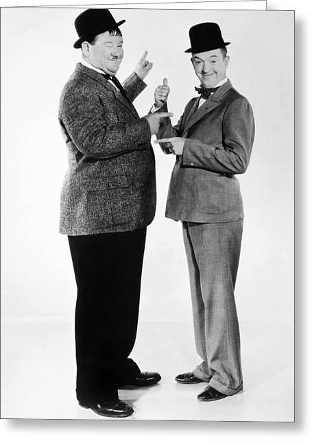 Comedian Greeting Cards - Laurel And Hardy Greeting Card by Granger