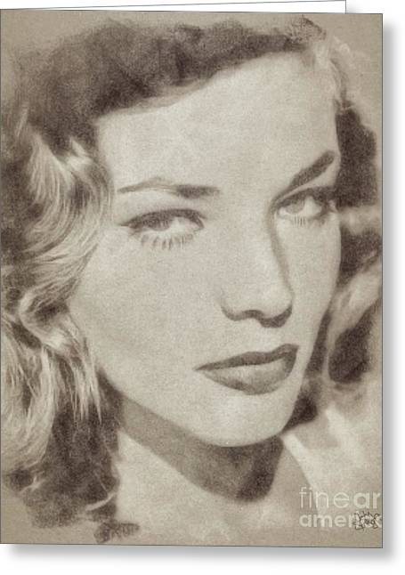 Lauren Bacall Vintage Hollywood Actress Greeting Card by John Springfield