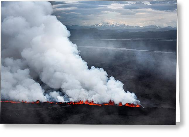 Lava And Plumes From The Holuhraun Greeting Card by Panoramic Images
