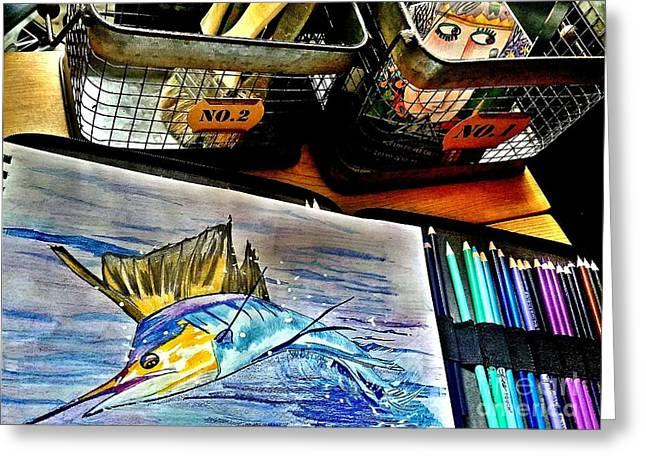 Leaping Sailfish Greeting Card by Scott D Van Osdol
