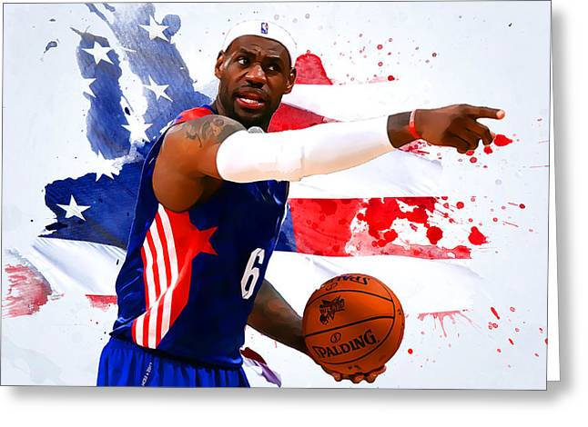 Lebron James Greeting Card by Semih Yurdabak