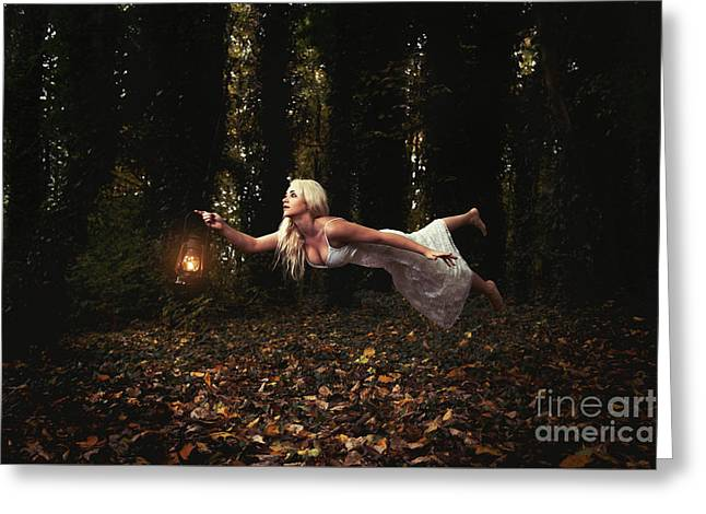 Levitation With Lamp Greeting Card by Amanda Elwell