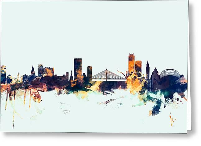 Liege Belgium Skyline Greeting Card