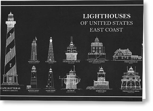 Lighthouses Of United States - East Coast - Blueprint Drawing Greeting Card