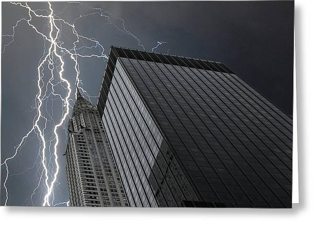 Lightning Strike Greeting Card by Martin Newman