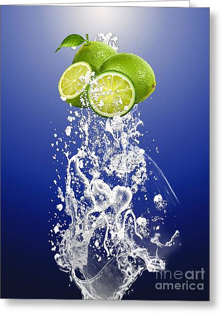 Lime Splash Greeting Card by Marvin Blaine