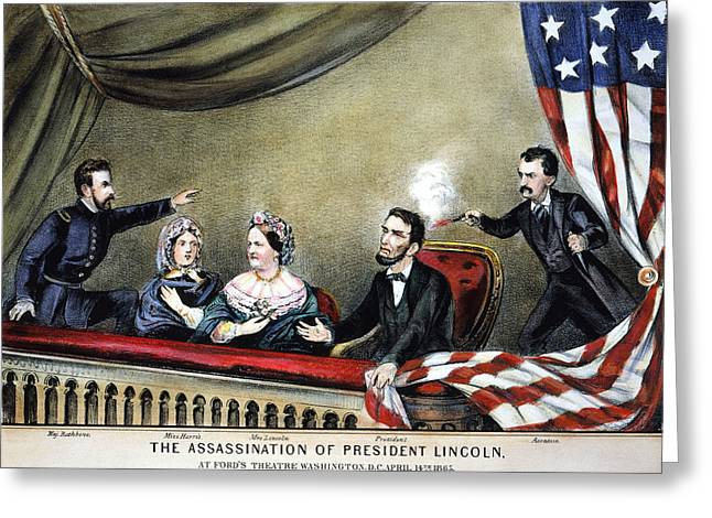 Conspiracy Greeting Cards - Lincoln Assassination Greeting Card by Granger