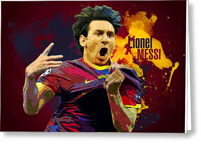 Lionel Messi Greeting Card by Semih Yurdabak