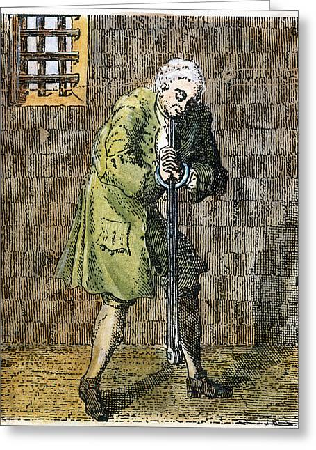 18th Century Greeting Cards - London: Debtors Prison Greeting Card by Granger