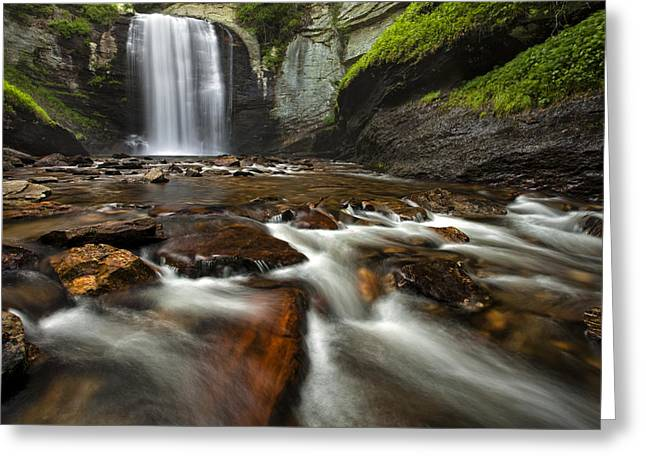 Fall Photos Greeting Cards - Looking Glass Falls Greeting Card by Andrew Soundarajan
