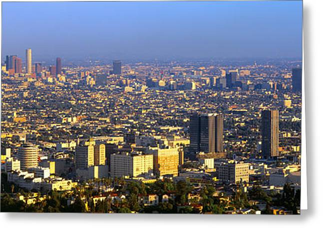 Los Angeles Skyline From Mulholland Greeting Card by Panoramic Images