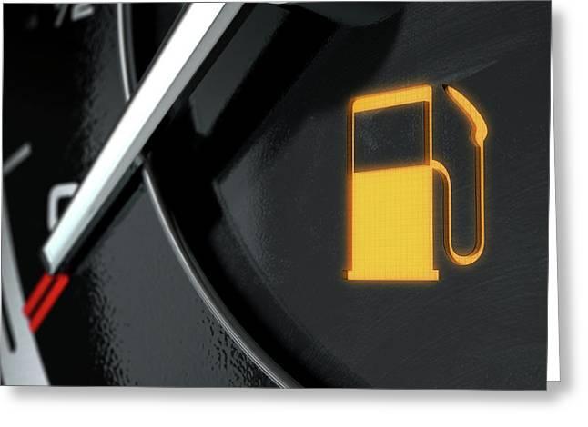 Low Petrol Dashboard Light Greeting Card by Allan Swart
